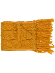 Barena Cable Knit Scarf Yellow And Orange