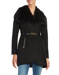 French Connection Faux Fur Collar Leather Trimmed Coat Black