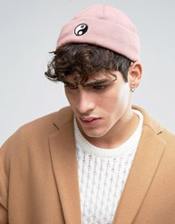 Asos Mini Fisherman Beanie With Yin And Yang Embroidery Pink