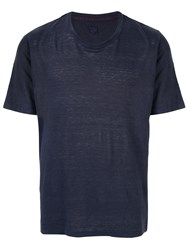 120 Lino Crew Neck Shortsleeved T Shirt Blue