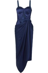 Alexander Mcqueen Draped Lace And Jacquard Trimmed Silk Satin Bustier Dress Blue