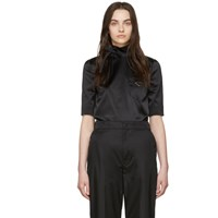 Prada Black Silk Duchess Turtleneck