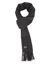 Lacoste Charcoal Grey Cashmere Wool Scarf Box Set