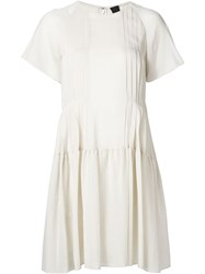 Vera Wang Shortsleeved Pleated Peasant Dress Nude And Neutrals