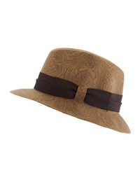Etro Paisley Print Wool Fedora Hat Brown