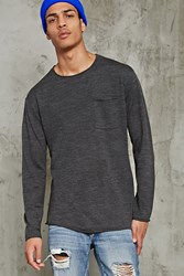Forever 21 Raw Rolled Trim Sweater Grey