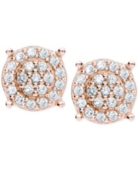 Giani Bernini Cubic Zirconia Pave Disc Stud Earrings In 18K Rose Gold Plated Sterling Silver Only At Macy's