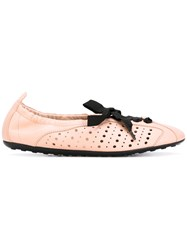 Tod's Lace Up Flats Women Leather Rubber 37.5 Pink Purple