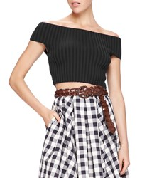 Michael Kors Off The Shoulder Crop Top Black