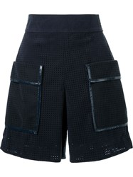 Muveil Faux Leather Perforated Shorts Blue