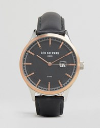 Ben Sherman Black Leather Watch With Rose Gold Detail Black