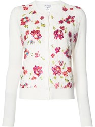 Oscar De La Renta Embroidered Flowers Cardigan White