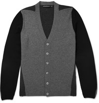 Alexander Mcqueen Panelled Cashmere Cardigan Gray