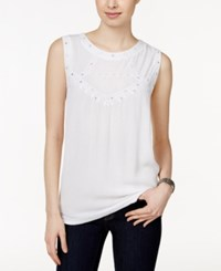 Styleandco. Style And Co. Sleeveless Scoop Neck Top Only At Macy's Bright White