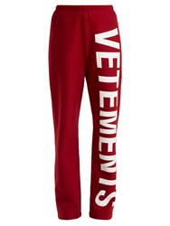 Vetements Logo Print Cotton Blend Jersey Track Pants Red