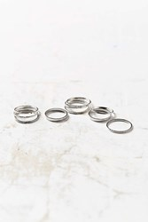 Urban Outfitters Simple Ring Pack Silver