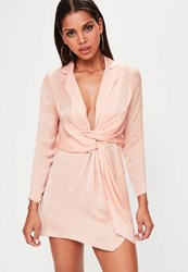 Missguided Petite Pink Satin Wrap Plunge Neck Dress