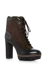 Santoni Heeled Hiker Boots Black