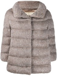 Herno Knitted Puffer Jacket Neutrals