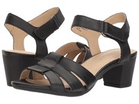 Hush Puppies Masseter Quarter Strap Black Leather Dress Sandals