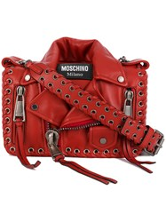 Moschino Biker Jacket Bag Leather Red