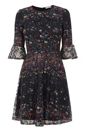 Oasis Fading Daisy Lace Print Dress Black