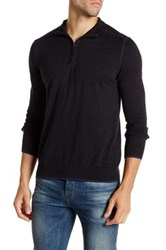 Agave Laurence Long Sleeve Zip Mock Neck Fine Gauge Pullover Black