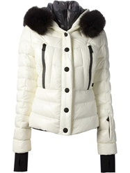 Moncler Grenoble Fur Trim Padded Jacket White