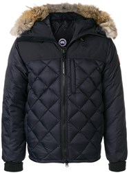 Canada Goose Fur Trim Quilted Jacket Cotton Feather Down Nylon Coyote Fur L Blue