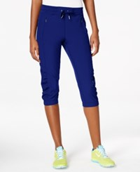 Calvin Klein Performance Commuter Active Ruched Capri Pants Navy