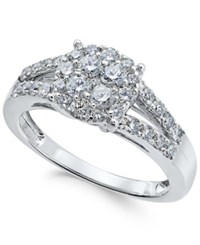 Macy's Diamond Cluster Engagement Ring 7 8 Ct. T.W. In 14K White Gold