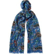 Saint Laurent Printed Cashmere And Silk Blend Scarf Storm Blue
