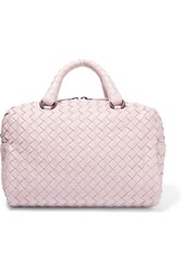 Bottega Veneta Boston Mini Intrecciato Leather Tote Antique Rose