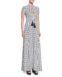 Derek Lam Short Sleeve Crescent Print Gown White Black