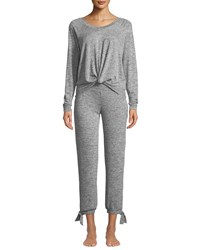 Ugg Fallon Knotted Jersey Pajama Set Gray