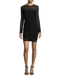 Alexander Wang Long Sleeve Jacquard Eyelet Mini Dress Black