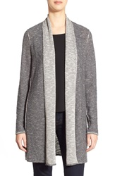 Eileen Fisher Plait Detail Organic Linen And Cotton Long Cardigan Ash