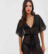 79c2502c2e Asos Design Tall Recycled Tie Waist Cape Back Chiffon Beach Cover Up In  Black