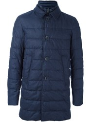 Herno High Neck Buttoned Coat Blue