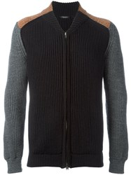 Roberto Collina Cable Knit Zipped Up Cardigan Black