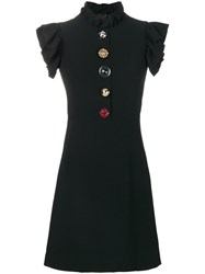 Dolce And Gabbana Jewelled Buttons Cady Dress Silk Spandex Elastane Acetate Viscose Black