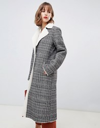 Stradivarius Contrast Shearling Long Line Coat In Check Print Multi