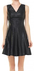 Leon Max Fit And Flare Coated Applique Dress