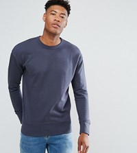 Selected Homme Tall Sweatshirt With Drop Shoulder Detail Blue Night Navy