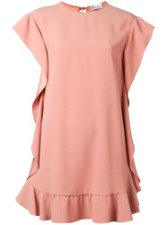 Red Valentino Ruffled Hem Dress Pink Purple