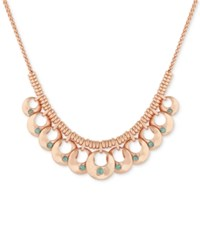 Lucky Brand Rose Gold Tone Blue Stone Statement Necklace