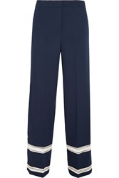 By Malene Birger Irrisa Embroidered Crepe Wide Leg Pants Blue