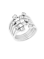 Michael Kors Modern Brilliance Layered Crystal Ring Silvertone