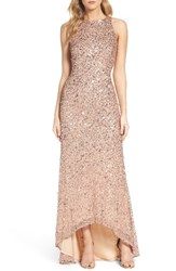 Adrianna Papell Women's Sequin High Low Gown Rose Gold