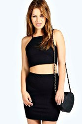 Petite Tilly Strappy Ribbed Crop And Skirt Co Ord